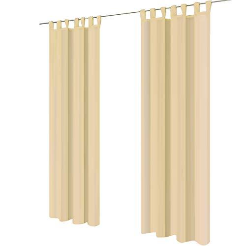 Lot de 2 gräfenstayn® venezia - rideau monochrome transparent en voile - nombreux coloris attrayants - dimensions (longueur x largeur) : 245x140cm chacun (crème)