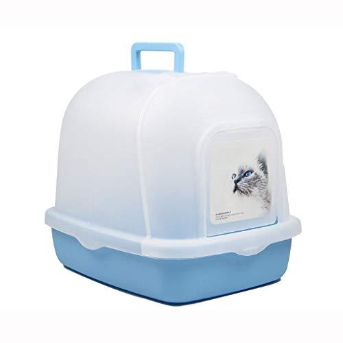 Katzentoilette , Innen Katze Toilette Groß Mit Kapuze Beigefügt Kunststoff Wurf Box Haustier Ausbildung Toilette Durchscheinend Flip Tür Einfach Sauber Tragbar ( Color : Blue , Size : 51*39*43.5cm ) -