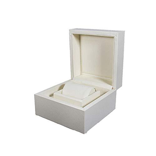 uckkästchen Männer Und Frauen Tragbare Pu-Leder Reise Uhr Schmuck Ring Display Aufbewahrungsbox, Weiß ()