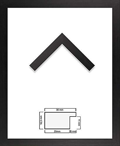 1a Bilderrahmen Monzetta Schwarz gemasert 46 x 61 cm kantig USA Poster modern stabil eckig preiswert mit spiegelfreiem Kunstglas - Usa 46