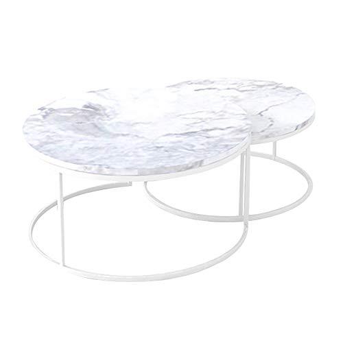 Zweiteiliger Couchtisch aus Marmor/einfaches Wohnzimmer runder Kleiner Beistelltisch, kleines Apartment moderner kreativer Teetisch, weiß (60 × 60 × 45 cm, 80 × 80 × 45 cm) -
