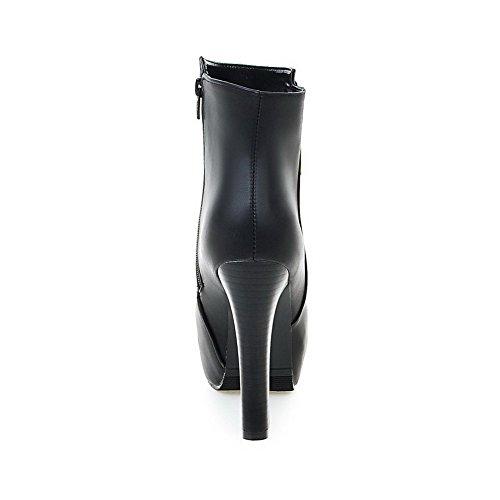 AllhqFashion Damen Hoher Absatz Weiches Material Niedrig-Spitze Reißverschluss Stiefel Schwarz