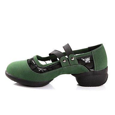 Silence @ en daim de chaussures de danse pour femme en daim Bottes de danse moderne/Sneakers Talon bas Practise Green