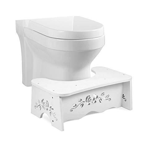 EBTOOLS Taburete de Inodoro en Cuclillas Baño Escabel Higiénico Taburete del Pie Robusta Blanco 7 Pulgadas
