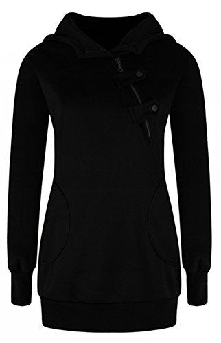 Blansdi Damen Frauen Winter Herbst Langarm Kapuzenpullover Taschen Jacke Pullover Oblique Reißverschluss Tops Outwear Hoodie Sweater Kapuzenpulli Schwarz