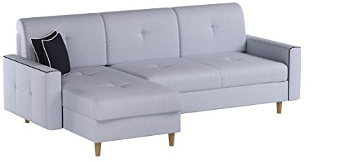 mb-moebel Ecksofa Sofa Eckcouch Couch mit Schlaffunktion und Bettkasten Ottomane L-Form Schlafsofa Bettsofa Polstergarnitur MIKA (Hellgrau, Ecksofa Links)