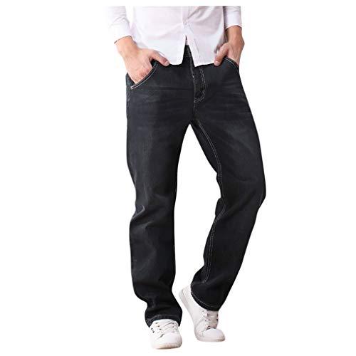BOLANQ Herren Casual Herbst Winter Loose Straight Plus Jeans Hose Lange Hose
