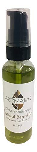 Aromabar BartÖl 60ml mit Zedernholz & Patchouli reine ätherische Öle 100% Natürliche Öle Bart Spülung Öl Holzigen Duft erweicht und Bedingungen - Feuchtigkeitsspendende Patchouli Öl