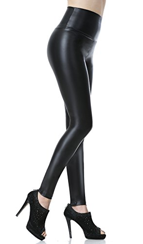 Everbellus Leggings Simili Cuir Taille Haute Sexy Femme Pantalon (Noir, Medium/EU36)