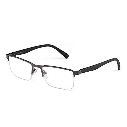 JIM HALO Rechteck Optischer Rahmen Brille Federscharnier Metall RX-fähig Brillen Klar Linse(Gunmetal/Klar)