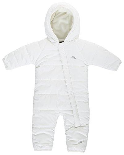 Trespass Amcotte, White, 3/6, Warmer Wasserdichter Schneeanzug mit Kapuze für Babys & Kleinkinder 6-24 Monate, 3-6 Monate, Weiß