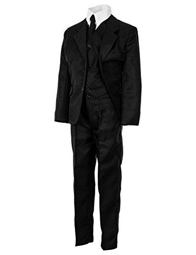 Festlicher 5tlg. Jungen Anzug in vielen Farben M290sw Schwarz Gr. 10/128 / 134 -