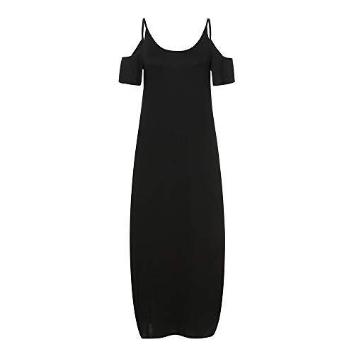 NseyuE Frauen Kleider, beiläufiges loses langes Kleid trägerloses Bügel-kalte Schulter-aufgeteilte Maxi Kleider Print Sommer Bohemian Kurzarm Kleid (Schwarz, S)