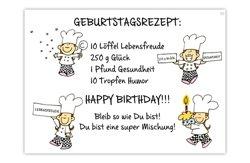 Sheepworld, Blinies Postkarte, Geburtstagsrezept