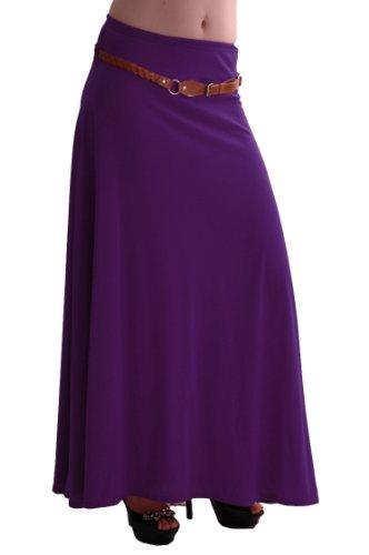 EyeCatch - Romina Aux Femmes Gitan Longue Jersey Dames Belted Maxi Robe Évasée Jupe Pourpre