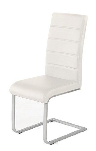 4 x Design Stuhl Freischwinger Piet 32 Kunstleder weiss - 2