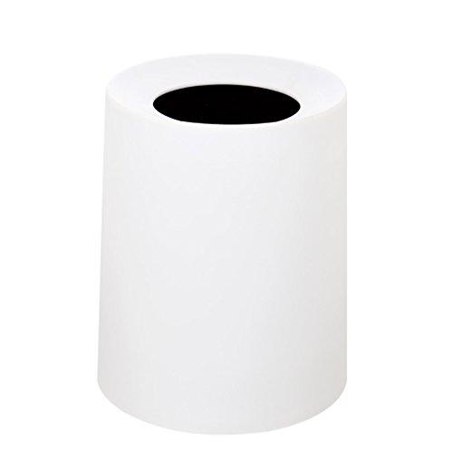 LF Stores Europäische kreative Hause ohne Deckel Kunststoff Mülleimer, Papierkorb Mode Wohnzimmer Schlafzimmer Büro Badezimmer Mülleimer (Color : White) (Wicker White Mülltonne)