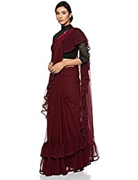 Womanista Georgette Ruffle Saree with Blouse Piece (FS9636_Maroon_Onesize)