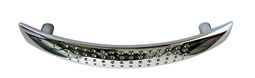 1 Stück Schubladen- Schranktürgriff, Bogengriff, elegantes Design, Messing verchromt und poliert, Schrauben, Breite = 125mm, Bohrlochabstand = 95mm, Höhe = 25mm, hochwertig, Art.-Nr. 6500-96