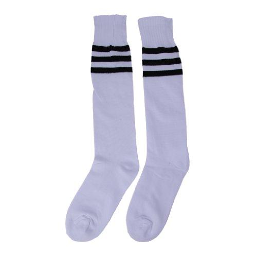 2 Streifen Socke (JTC Unisex Fußballstutzen Fußballsocken Fußballstrümpfe Sportsocken, 2 weiß schwarz Streifen, one size)