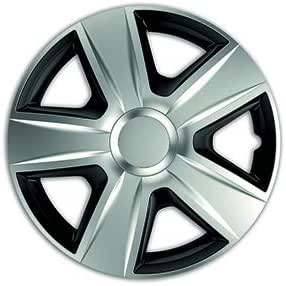 Esprit DC Silver E Black,15 COPRICERCHIO Universale Adatto AD Ogni Vettura SPROVVISTA di Cerchio in Lega Si INCASTRA con MOLTA FACILITA DIFFICILMENTE Removibile.