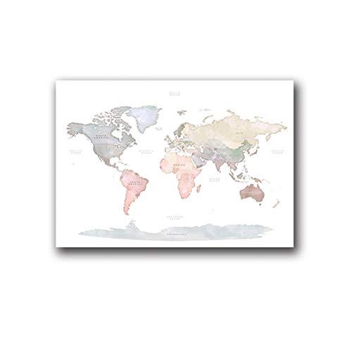 UDIYXC Acuarela Mapa Mundo Cartel Lona Pintura Cuadro