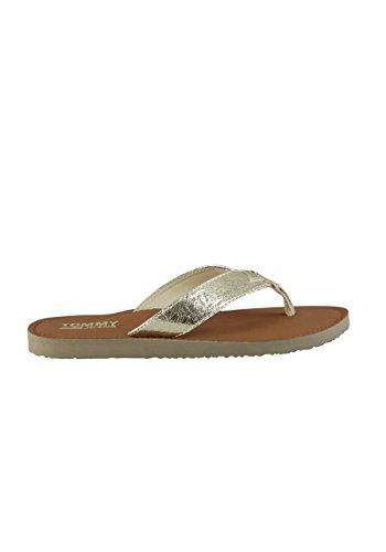 Hilfiger Denim Damen Glitter Beach Sandal Zehentrenner, Gold (Light Gold 708), 38 EU