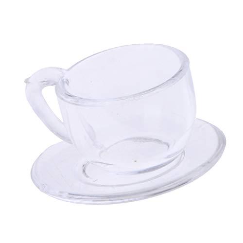 Fenteer 1/12 Puppenhaus Teeservice - Mini Acryl Kaffeetasse mit Untertasse Küchenzubehör - Transparent
