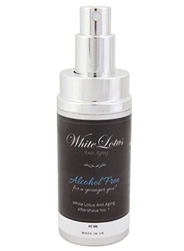 Dopobarba uomo senza alcol - dopobarba naturale lozione No.1 della White Lotus Anti Aging - profumo senza alcol con olio di attar - idrata la pelle secca - riduce le rughe ed il rossore - 40 ml