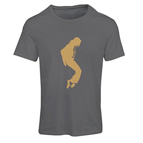 Frauen T-Shirt Ich Liebe MJ - Fanclub Kleidung, Konzert Kleidung (Medium Graphit Gold)