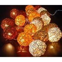 Autunno palle marroni rattan Catena di luci Fairy Light