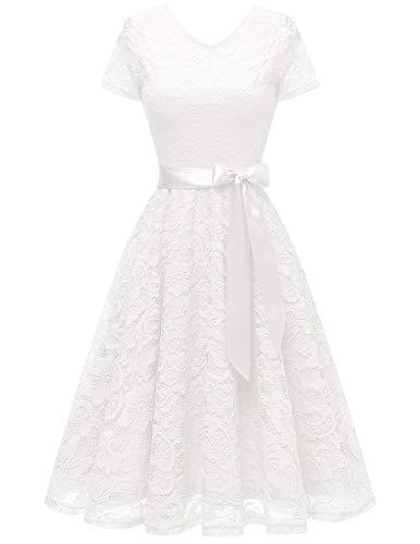 bridesmay Damen 50S Retro Spitzenkleid Kurzarm Elegant Brautjungfernkleid Abendkleider White S (Weißes Lange ärmel Spitze Kleid)