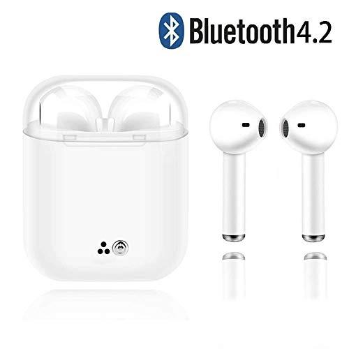 BSOFFICE Auriculares Bluetooth, Blancos Auriculares inalámbricos Auriculares intrauditivos Manos Libres Auriculares con cancelación de Ruido Compatible con iPhone XR X 8 7 6 iPad Android Smartphone