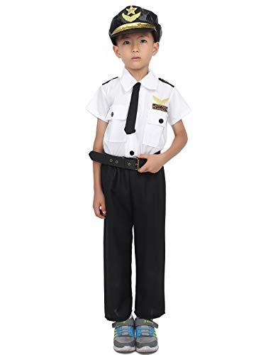 inlzdz 5-teiliges Unisex Kinder Polizei Kostüm Jungen & Mädchen Polizist Polizistin Uniform Karneval Cosplay Kostüm Hemd+Hose+Hut+Gürtel+Krawatte Weiß&Schwarz 110-116