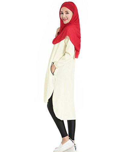 GladThink Donne musulmano arabo Lunga camicia Beige
