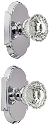 Arched Rosette Set With Fluted Crystal Knobs Double Dummy In Polished Chrome. Old Door Knobs. by Emtek Fluted Crystal
