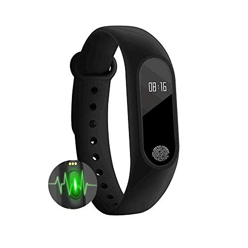 Glamary M2 Smart Band with Activity Tracker Heart Rate Monitor Bluetooth Health Fitness Band and More, Facebook Whatsapp Call Alarm Notifications Band for All Devices - Black