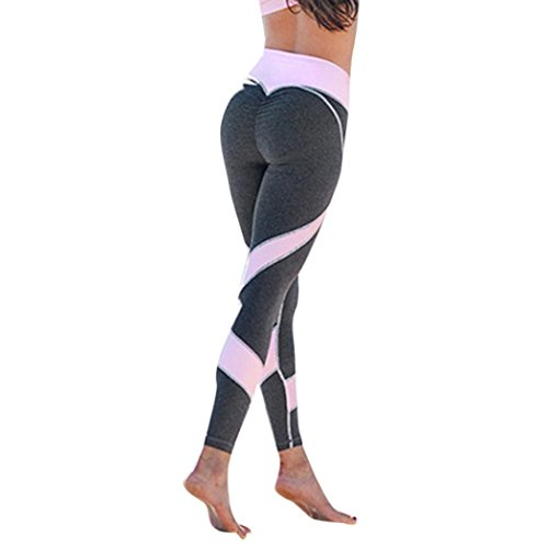 se Damen Sport-Leggings Jogginghose Printed Streifen Hüfthose Strumpfhose Leggins Hose Strumpfhose Schwarz Workout Stretch High Elastic Yoga Hosen Yoga Pants LMMVP (Grau, L) ()
