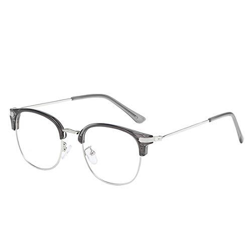 IOSHAPO Unisex Ovaler Halber Rahmen Retro Metall Kurzsichtige Brille Kunststofflinsen Komfortabel Gläser-0,5-1,0-1,5-2,0-2,5-3,0-3,5-4,0-4,5-5,0-5,5-6,0