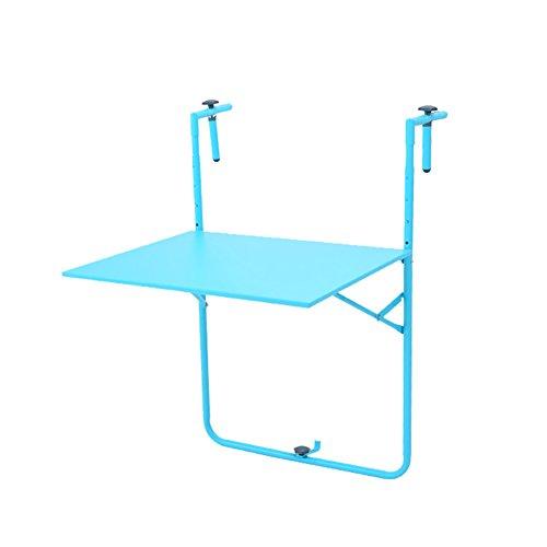 Table pliante en métal Balcon extérieur Balançoire Table à suspendre Table d'art en fer Bureau d'ordinateur simple moderne Simple ( Couleur : Bleu )