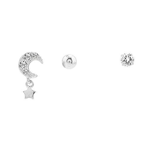 NECKLACEXSJ Pendientes S925 Plata Luna Estrellas Aretes Conjunto Femenino Temperamento Simple Oído Hueso Uña Personalidad Creativa