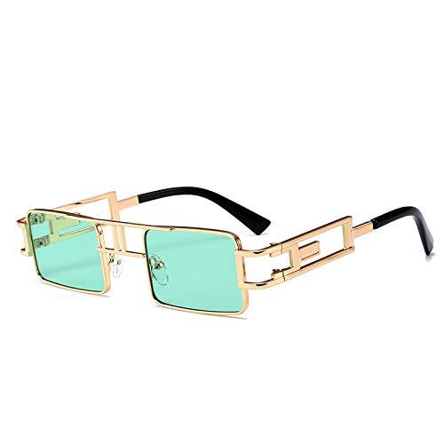 Metall Sonnenbrille Europa und Amerika Street Shooting Box Sonnenbrille hellgrün gold Rahmen