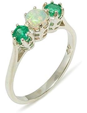 Luxus Damen Ring Solide Silber mit Opal und Smaragd - Verfügbare Größen : 47 bis 68