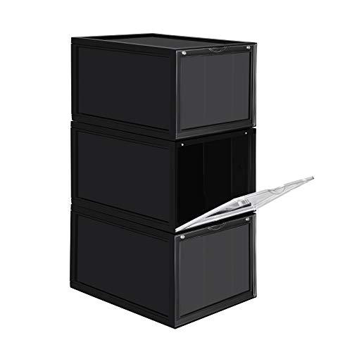 SONGMICS Schuhbox, stapelbarer Schuhorganizer, Kunststoffbox mit durchsichtiger Tür, Schuhaufbewahrung, einfache Montage, 3er Set, 28 x 36 x 22 cm, für Schuhe bis Größe 46, schwarz LSP03BK