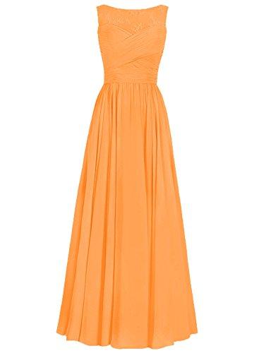 JAEDEN Donne Chiffon Abiti da ballo Vestito da sera Pizzo Abiti da damigella lungo Arancione