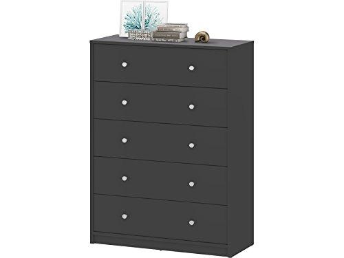 Loft24 MAHRA Kommode Schrank Sideboard Wohnzimmerschrank Schubladenschrank 5 Schubladen grau