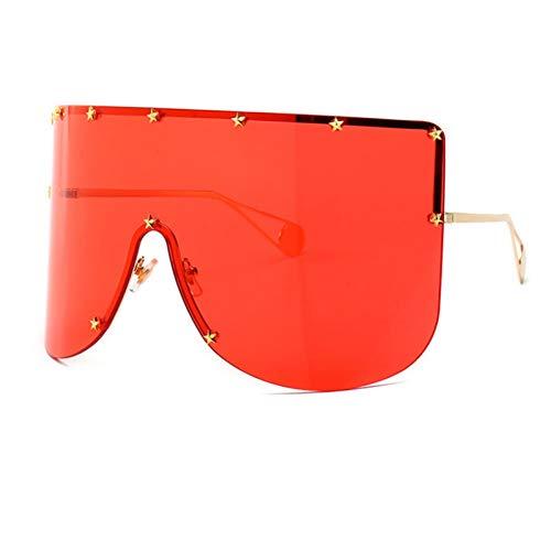 Shihuam Mode übergroßen Schild Sonnenbrille Frauen Männer Luxulry Er randlose Metall weibliche Sonnenbrille Shades Damen,rot