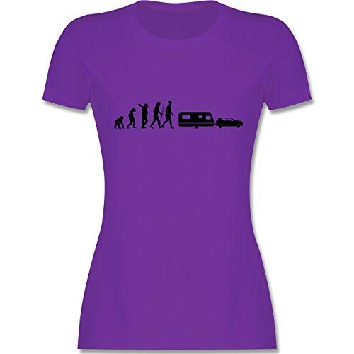 Evolution - Evolution Wohnwagen - Damen T-Shirt Rundhals Lila