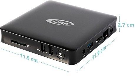 ONE Xcellent 4K WIN10 Box · lautloser schwarzer Silent Mini PC ohne Lüfter· Intel Quad Core (4 x 1,84 GHz) · 32GB SSD · Intel HD Grafik · WLAN · Bluetooth · HDMI · USB3.0 · Windows 10 Home · Cardreader · USFF Desktop Computer