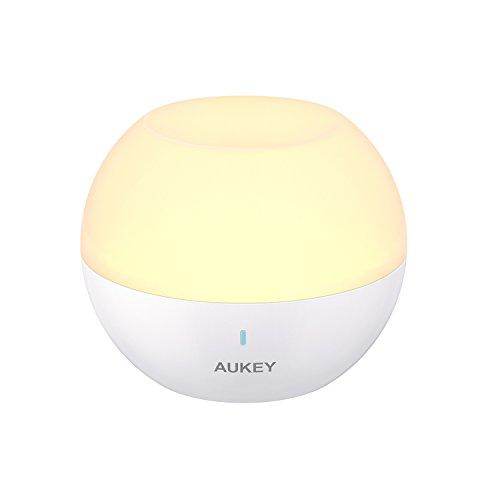 AUKEY Nachtlicht Kind, Mini Tragbare Wiederaufladbare Nachttischlampe, IP65 Wasserdicht & Sturzfest, Mobile Wandlampe Wandleuchte mit Farbwechsel RGB, Dimmbares Weiß & Warm Licht (Weiß) (Manuelle Licht)
